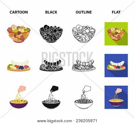 Assorted Nuts, Fruits And Other Food. Food Set Collection Icons In Cartoon, Black, Outline, Flat Sty