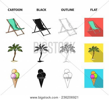 Beach, Palm Tree, Ice Cream.summer Vacation Set Collection Icons In Cartoon, Black, Outline, Flat St