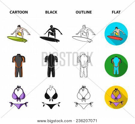 Surfer, Wetsuit, Bikini, Surfboard. Surfing Set Collection Icons In Cartoon, Black, Outline, Flat St