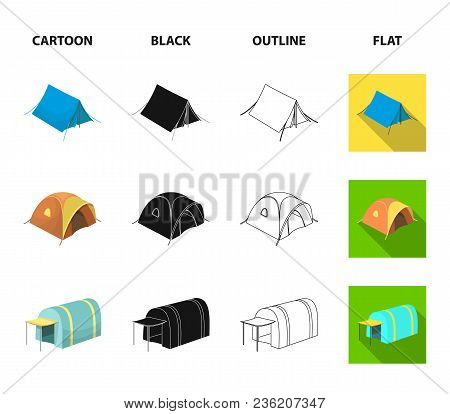 Backpack And Other Kinds Of Tents.tent Set Collection Icons In Cartoon, Black, Outline, Flat Style V