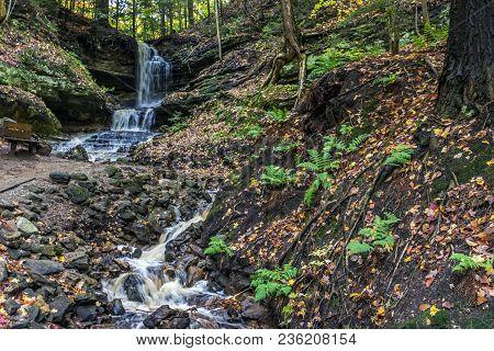 Entering The Horseshoe Waterfalls Of Munising, Michigan