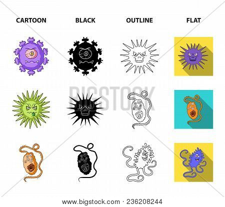 Different Types Of Microbes And Viruses. Viruses And Bacteria Set Collection Icons In Cartoon, Black
