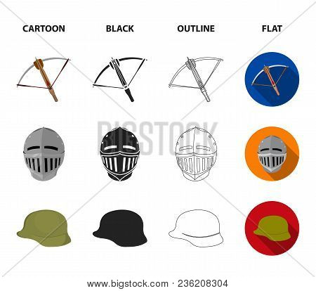 Crossbow, Medieval Helmet, Soldier Helmet, Hand Grenade. Weapons Set Collection Icons In Cartoon, Bl