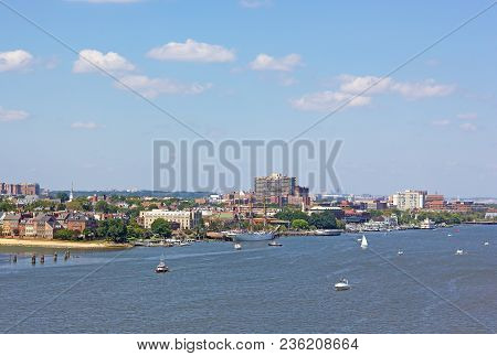 A Panoramic View On Old Town Alexandria Piers From The Potomac River, Virginia, Usa. Waterfront Of N