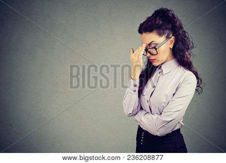 Beautiful Brunette In Elegant Outfit And Glasses Looking Tired Having Headache And Rubbing Forehead