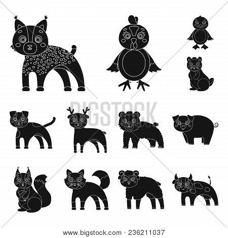 Toy Animals Black Icons In Set Collection For Design. Bird, Predator And Herbivore Vector Symbol Sto