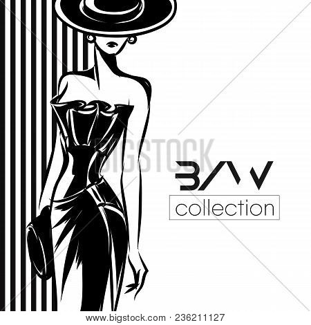 Black white fashion vector photo free trial bigstock black and white fashion woman silhouette beautiful fashion model on black background logo vector il maxwellsz
