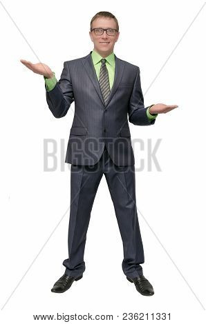 The Businessman Weighs All The Pros And Cons. A Man Holds In His Palms Some Copy Space And Chooses B