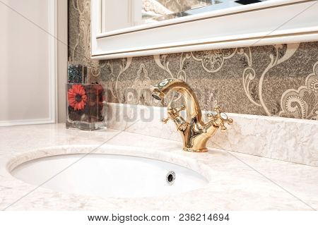 Bathroom Classic Nterior With Sink And Classic Retro Style Bronze Faucet