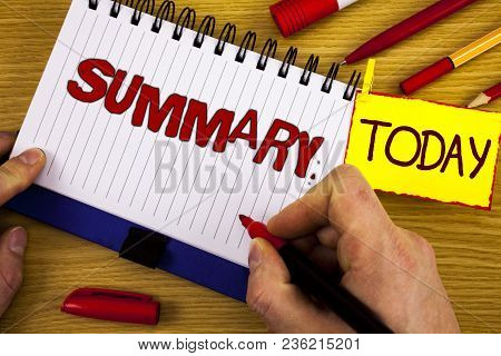 Handwriting Text Summary. Concept Meaning Brief Statement Abstract Synopsis Concise Abbreviated Vers