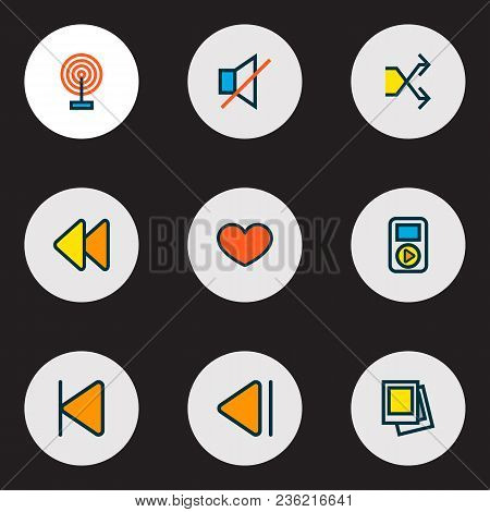 Media Icons Colored Line Set With Gallery, Favorite, Broadcast And Other Start Elements. Isolated Ve