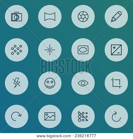 Image Icons Line Style Set With Eyesight, Reload, Lightning And Other Flare Elements. Isolated  Illu