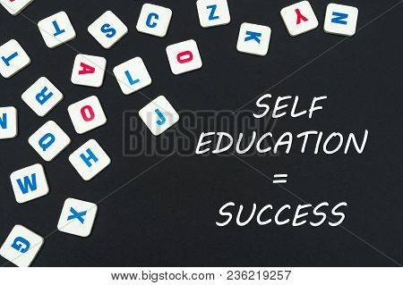 English School Concept, Text Self Education Success, Colored Square English Letters Scattered On Bla