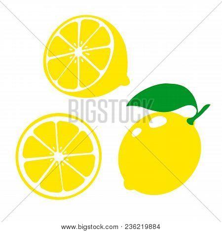 Icon Lemon. Set Fresh Lemon Fruits And Slice. Isolated On White Background. Vector Illustrations