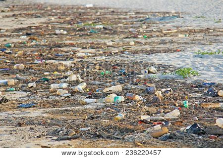 India, Goa, February 05, 2018. Empty Plastic And Glass Bottles Lie On The Beach And Pollute The Ecol