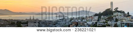 Sunset Panoramic Views Of Telegraph Hill And North Beach Neighborhoods With San Francisco Bay, Alcat