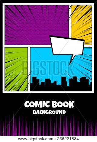 Blank Humor Graphic. Pop Art Comics Book Magazine Cover Template. Cartoon Funny Vintage Strip Comic