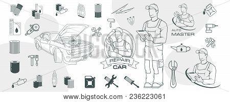Set Of Different Car Repair Elements. Auto Service Logo. Сar Repair Shop. Auto Workshop. Car Mechani