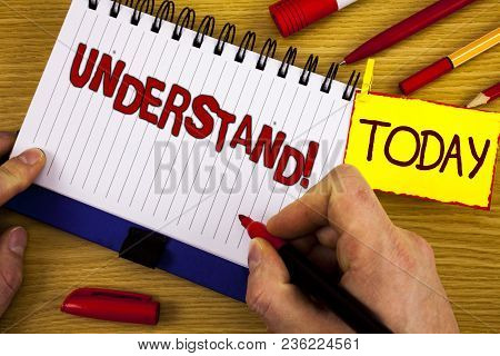 Handwriting Text Understand Motivational Call. Concept Meaning Know Perceive The Meaning Of Somethin