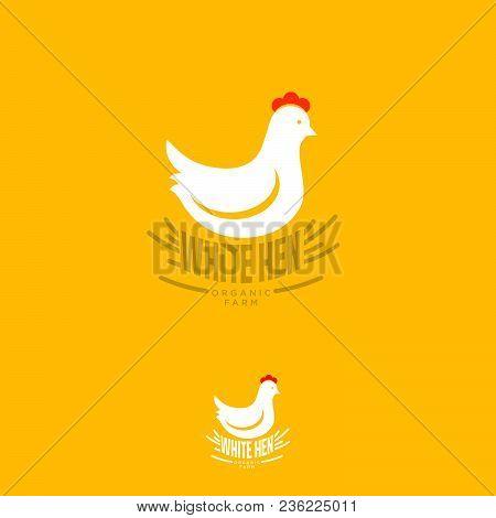 White Hen Logo. Organic Farm Emblem. Organic Chicken Trade Mark.