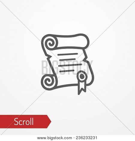 Abstract Paper Scroll With Stamp. Isolated Icon In Silhouette Style. Typical Medieval Or Fantastic S