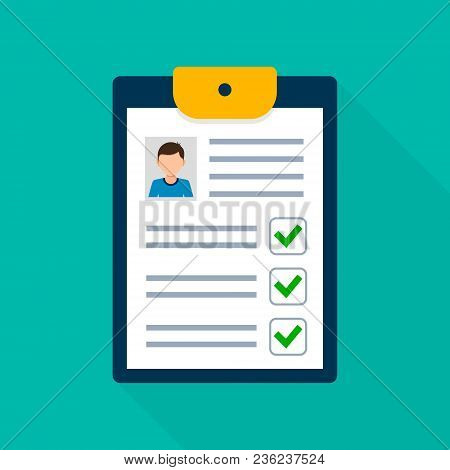 Clipboard With Man Silhouette Illustration. Approved Checklist Job Application Form With Profile Pho
