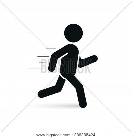 Running Man Icon, Vector Isolated Silhouette Of Running Person. Run Sign.