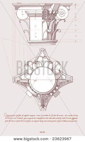 Chapiter- hand draw sketch composite architectural order based