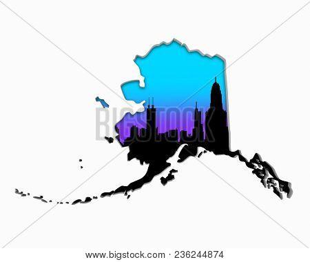 Alaska AK Skyline City Metropolitan Area Nightlife 3d Illustration