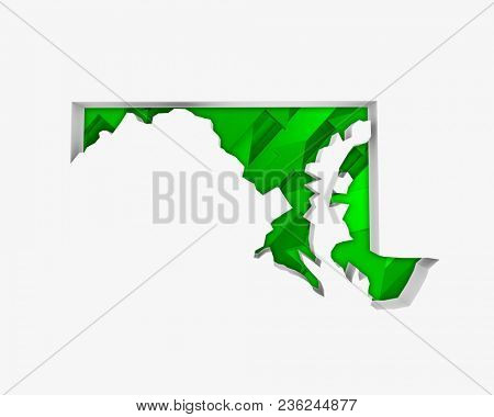 Maryland MD Arrows Map Growth Increase On Rise 3d Illustration