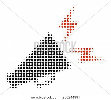 Alert Megaphone Halftone Vector Pictogram. Illustration Style Is Dotted Iconic Alert Megaphone Icon