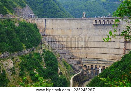 Enguri Dam On The Inguri River, Georgia. One Of The Highest Arched Concrete Dams In The World.