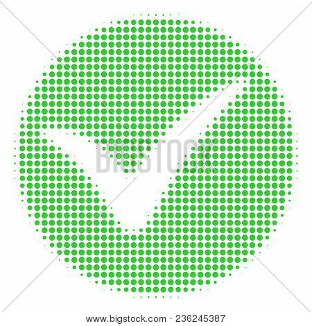 Apply Halftone Vector Icon. Illustration Style Is Dotted Iconic Apply Icon Symbol On A White Backgro