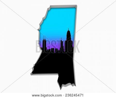 Mississippi MS Skyline City Metropolitan Area Nightlife 3d Illustration