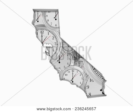 California CA Clock Time Passing Forward Future 3d Illustration