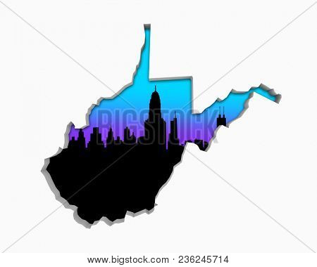 West Virginia WV Skyline City Metropolitan Area Nightlife 3d Illustration