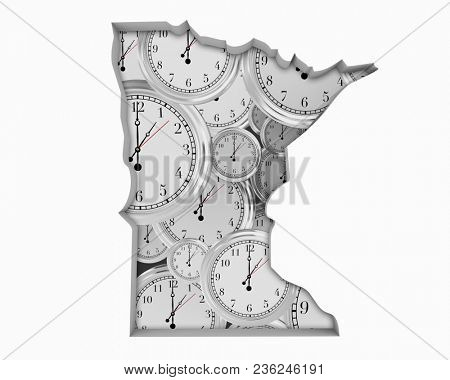 Minnesota MN Clock Time Passing Forward Future 3d Illustration