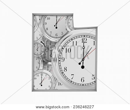 Utah UT Clock Time Passing Forward Future 3d Illustration