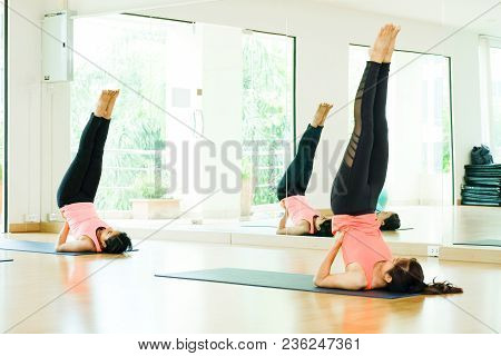 Young Asian Women Practicing Yoga Meditation, Healthy Lifestyle, Wellness, Well Being