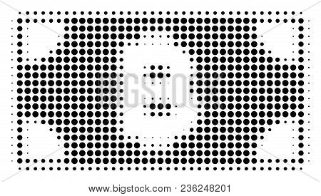 Bitcoin Cash Banknote Halftone Vector Pictogram. Illustration Style Is Dotted Iconic Bitcoin Cash Ba
