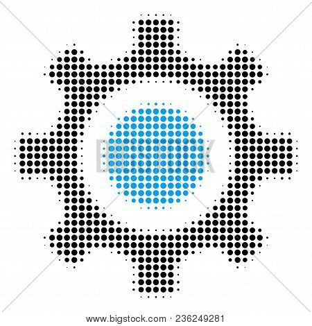 Cogwheel Halftone Vector Pictogram. Illustration Style Is Dotted Iconic Cogwheel Icon Symbol On A Wh