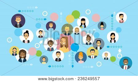 Business People Icons Network Communication And Team Cooperation Concept Flat Vector Illustration