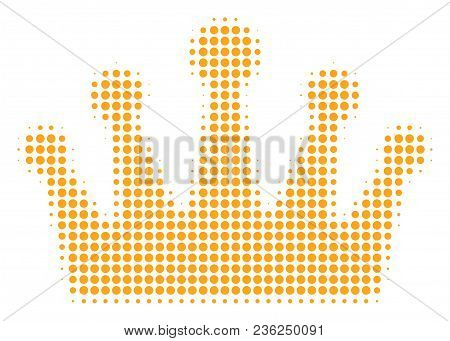 Crown Halftone Vector Icon. Illustration Style Is Dotted Iconic Crown Icon Symbol On A White Backgro