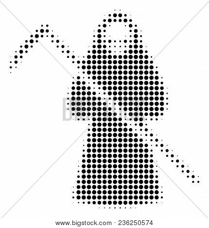 Death Scytheman Halftone Vector Pictogram. Illustration Style Is Dotted Iconic Death Scytheman Icon