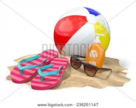 Beach accessories for relaxing. Sunscreen bottle, flip flops, sunglasses and ball onthe sand. 3d illustration