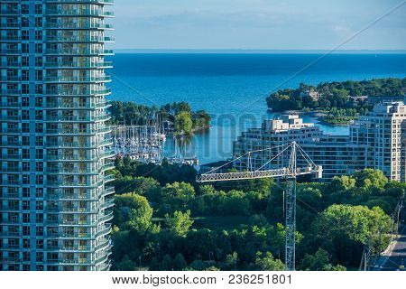 A View Of The Buildings On The Lake Ontario In Toronto, Canada.