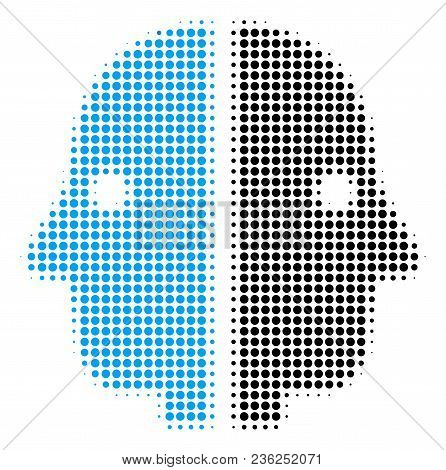 Dual Face Halftone Vector Icon. Illustration Style Is Dotted Iconic Dual Face Icon Symbol On A White