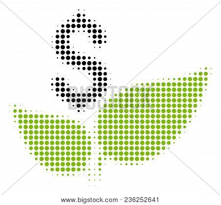 Eco Startup Halftone Vector Pictogram. Illustration Style Is Dotted Iconic Eco Startup Icon Symbol O