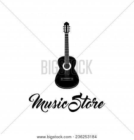 Guitar Icon. Music Store Shop Logo Label. Musical Instrument. Vector Illustration.