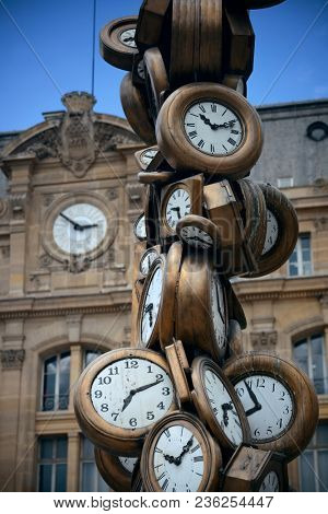 PARIS, FRANCE - MAY 13: Art sculpture at Saint-Lazare train station on May 13, 2015 in Paris. With the population of 2M, Paris is the capital and most-populous city of France